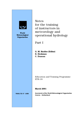 Notes for the training of instructors in meteorology and operational